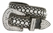 "50158 Women's Western rhinestone studded Leather Belt 1-1/2"" Wide - Black1"
