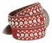 "50158 Women's Western rhinestone studded Leather Belt 1-1/2"" Wide - Red2"