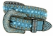 "50158 Women's Western rhinestone studded Leather Belt 1-1/2"" Wide - Teal1"