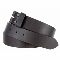 "5138 Made in USA One Piece Full Leather Belt Strap 1-1/2"" (38mm) Wide - Black"