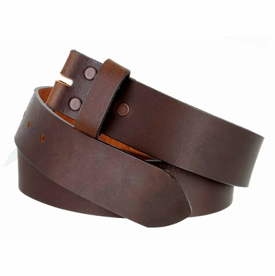 """5138 Made in USA One Piece Full Leather Belt Strap 1-1/2"""" (38mm) Wide - Brown"""