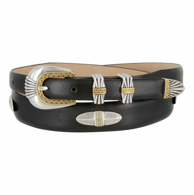 5544 Italian Leather Concho Belt - Smooth Black