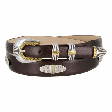 5544 Italian Leather Concho Belt - Smooth Brown