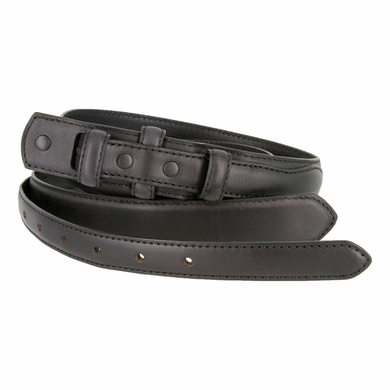 "Genuine Leather Ranger Belt Strap 1-3/8"" tapering to 3/4"" wide - Black"