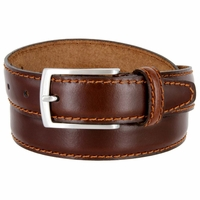 "Men's Italian Leather Dress Casual Belt 1-1/8"" Wide Made in Italy - Bruciato (Med. Brown)"