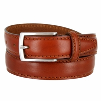 "Men's Italian Leather Dress Casual Belt 1-1/8"" Wide Made in Italy - Tan"