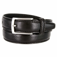 "Men's Italian Leather Dress Casual Belt 1-1/8"" Wide Made in Italy - Nero (Black)"