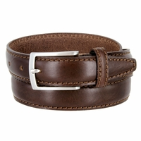 "Men's Italian Leather Dress Casual Belt 1-1/8"" Wide Made in Italy - T. Moro (Dark Brown)"