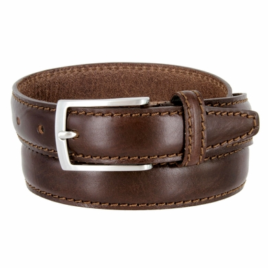 "Men's Leather Dress Casual Belt 1-1/8"" Wide Made in Italy - T. Moro (Dark Brown)"