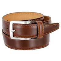 "Men's Italian Leather Dress Casual Belt 1-3/8"" Wide Made in Italy - Bruciato (Med. Brown)"