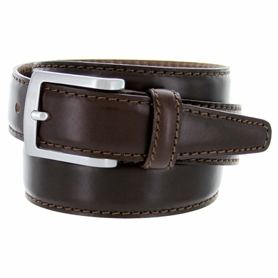 "Men's Italian Leather Dress Casual Belt 1-3/8"" Wide Made in Italy - T. Moro (Dark Brown)"
