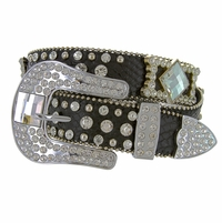 "6013 Women's Western rhinestone-studded Leather Belt 1-1/2"" Wide Black"