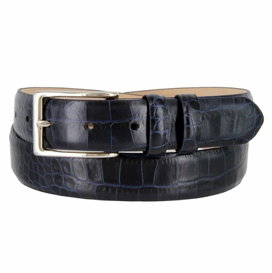 "6162 Men's Italian Calfskin Genuine Leather Dress Navy Belt 1-1/8"" Wide"