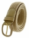 "7001 Leather Covered Buckle Woven Elastic Stretch Belt 1-1/4"" Wide - Beige2"