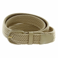 "7001 Leather Covered Buckle Woven Elastic Stretch Belt 1-1/4"" Wide - Beige"