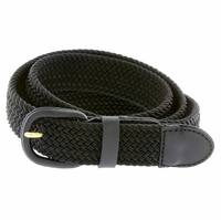 "7001 Leather Covered Buckle Woven Elastic Stretch Belt 1-1/4"" Wide - Black"