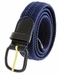 """7001 Leather Covered Buckle Woven Elastic Stretch Belt 1-1/4"""" Wide - Navy2"""