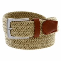 "7001G Fabric Leather Elastic Woven Stretch Belt 1-3/8"" Wide - Beige"
