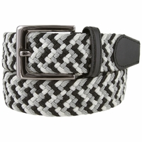 "7001G Fabric Leather Elastic Woven Stretch Belt 1-3/8"" Wide - Black/Gray/White"