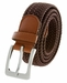 "7001G Fabric Leather Elastic Woven Stretch Belt 1-3/8"" Wide - Brown2"