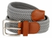 "7001G Fabric Leather Elastic Woven Stretch Belt 1-3/8"" Wide - Gray1"