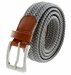 "7001G Fabric Leather Elastic Woven Stretch Belt 1-3/8"" Wide - Gray2"