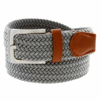"7001G Fabric Leather Elastic Woven Stretch Belt 1-3/8"" Wide - Gray"