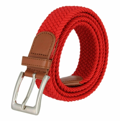 "7001G Fabric Leather Elastic Woven Stretch Belt 1-3/8"" Wide - Red"