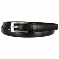 7045 Women's Skinny Lizard Skin Embossed Leather Casual Dress Belt with Buckle - Black