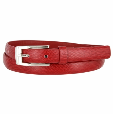 7045 Women's Skinny Lizard Skin Embossed Leather Casual Dress Belt with Buckle - Red
