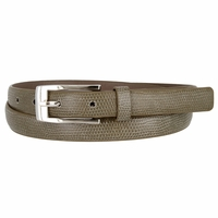 7045 Women's Skinny Lizard Skin Embossed Leather Casual Dress Belt with Buckle - Taupe
