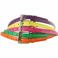 "7055 Solid Colors Skinny Women's Dress Belts 3/4""  Wide - Five-Color Pack!"