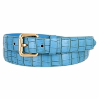 7075 Women's Skinny Matte Alligator Skin Embossed Leather Casual Dress Belt - Blue