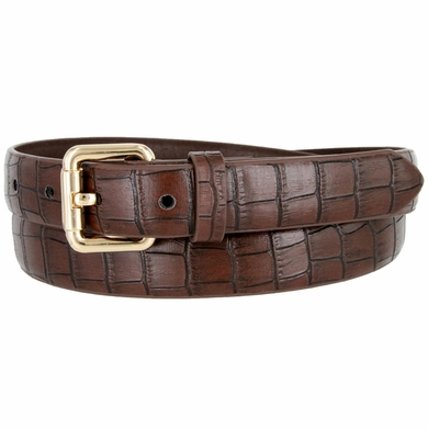 7075 Women's Skinny Matte Alligator Skin Embossed Leather Casual Dress Belt - Brown