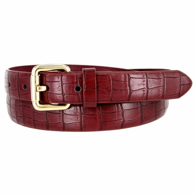 7075 Women's Skinny Matte Alligator Skin Embossed Leather Casual Dress Belt - Burgundy