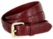 7075 Women's Skinny Matte Alligator Skin Embossed Leather Casual Dress Belt - Burgundy1