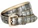 7075 Women's Skinny Matte Alligator Skin Embossed Leather Casual Dress Belt - Gold1