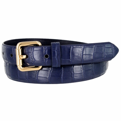 7075 Women's Skinny Matte Alligator Skin Embossed Leather Casual Dress Belt - Navy