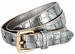 7075 Women's Skinny Matte Alligator Skin Embossed Leather Casual Dress Belt - Silver1