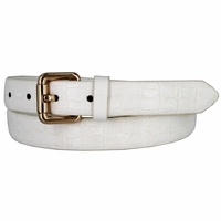 7075 Women's Skinny Matte Alligator Skin Embossed Leather Casual Dress Belt - White