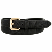 7085 Women's Skinny Matte Snakeskin Embossed Leather Casual Dress Belt - Black