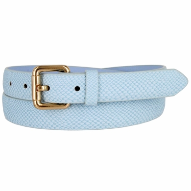 7085 Women's Skinny Matte Snakeskin Embossed Leather Casual Dress Belt - Blue