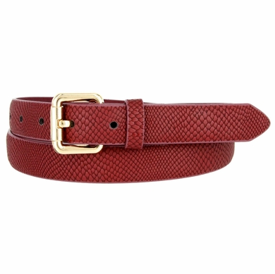 7085 Women's Skinny Matte Snakeskin Embossed Leather Casual Dress Belt - Burgundy