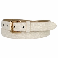 7085 Women's Skinny Matte Snakeskin Embossed Leather Casual Dress Belt - Beige