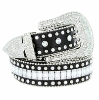 "8047 Women's Western Cowgirl rhinestone-studded Leather Belt 1-1/2"" Wide - Black"