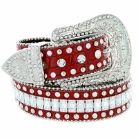 "8047 Women's Western Cowgirl rhinestone-studded Leather Belt 1-1/2"" Wide Red"