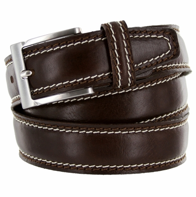 "8118/35 Men's Italian Leather Dress Casual Belt 1-3/8"" Wide Made in Italy - T. Moro (Dark Brown)"