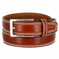 "8119/30 Men's Italian Leather Dress Casual Belt 1-1/8"" Wide Made in Italy - Marrone (Tan)"