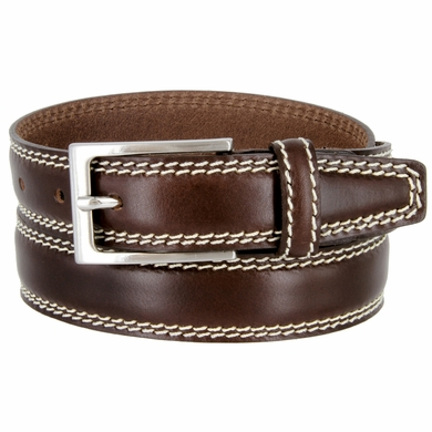 "8119/30 Men's Italian Leather Dress Casual Belt 1-1/8"" Wide Made in Italy - T. Moro (Dark Brown)"