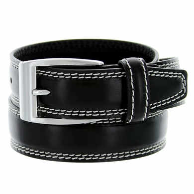 "8119/35 Men's Italian Leather Dress Casual Belt 1-3/8"" Wide Made in Italy - Nero(Black)"